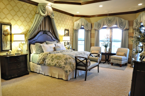 Master bedroom custom drapery, bedding and wall treatments