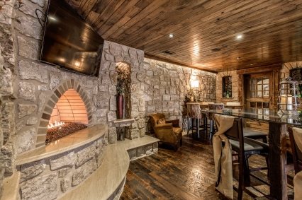 Basement wine tasting room